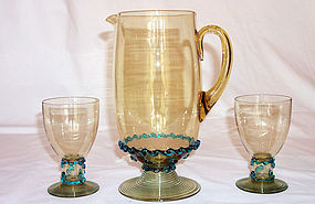 Steuben Pitcher and 6 Tumblers