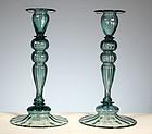 Steuben Antique Green Candlesticks
