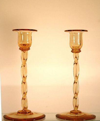 Amber Steuben Candlesticks
