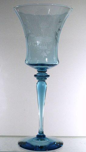 "Steuben Marina Blue ""Fountain"" Pattern Goblets"