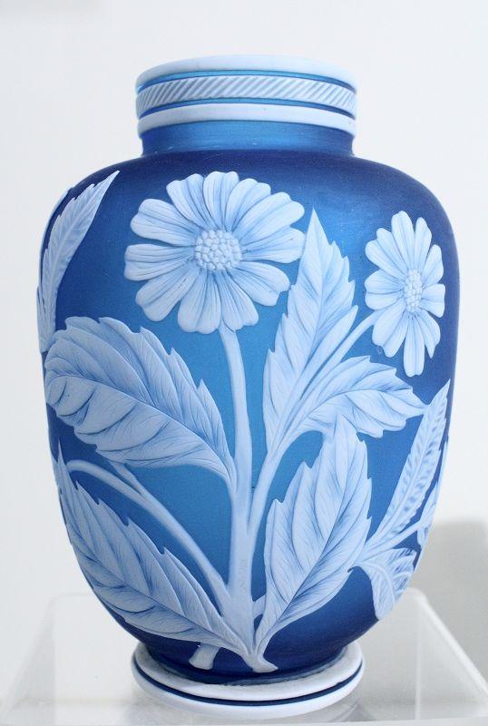 Blue & White English Cameo Vase