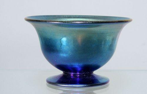 Steuben Blue Aurene Open Salt