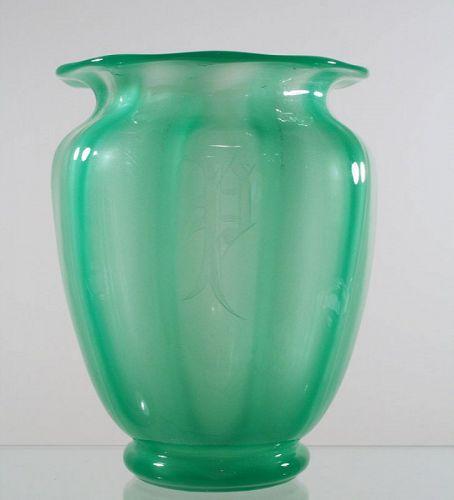 Green Jade Monogrammed Steuben Vase