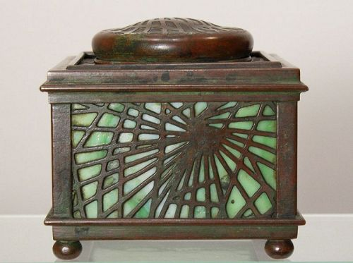 Tiffany Etched Metal & Glass Inkwell