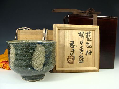 Salt Galze with Combed design Chawan Tea Bowl by Hamada Shoji