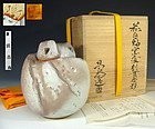 Japanese Hagi Kurinuki Koro Incense Burner by Kaneta Masanao