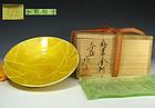 Ono Hakuko Japanese Yuri-kinsai  Hira Chawan Tea Bowl