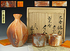 Kato Yasukage XIV Shino Sake Set for Two