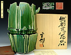 Sensational Hayashi Shotaro Contemporary Large Oribe Vase