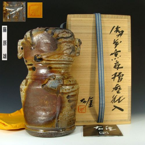 Living National Treasure Fujiwara Yu Bizen Yohen Vase