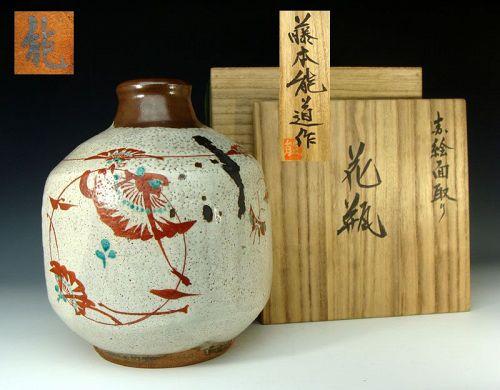 Living National Treasure Fujimoto Yoshimichi Aka-e Tsubo
