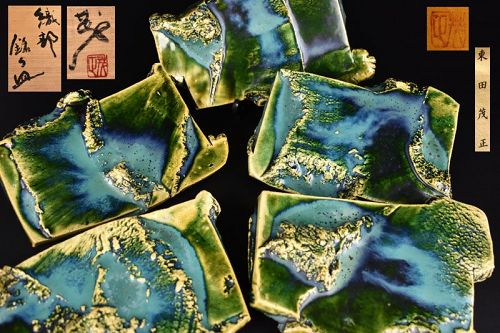 Five Amazing Oribe Plates Set by Higashida Shigemasa