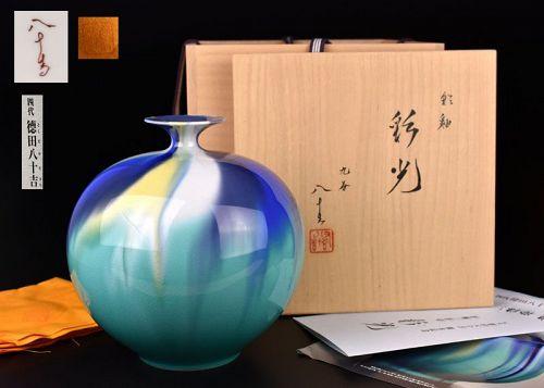 Beautiful Kutani Sansai Tsubo by Tokuda Yasokichi IV
