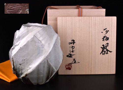 Wonderful Ash-Glazed Faceted Tsubo by Nishihata Tadashi
