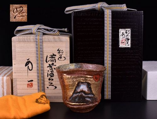 Abe Anjin Contemporary Japanese Bizen Saishoku Shuki Sake Cup