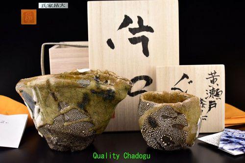 Contemporary Japanese Ki-seto Sake Set by Ujiie Kodai