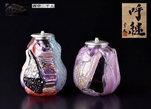 Glass Chaire Tea Containers by Nishinaka Yukito