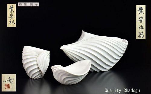 Folded Leaf Shaped Sake Set by Inaba Chikako