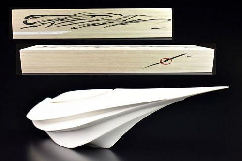 White Porcelain Katakuchi Vessel by Matsumura Jun