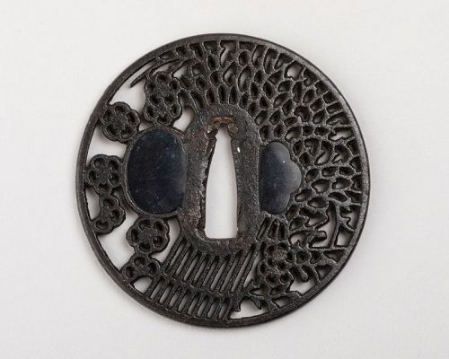 Sukashi Tsuba with bundles and cherry blossoms Japan Edo 18th