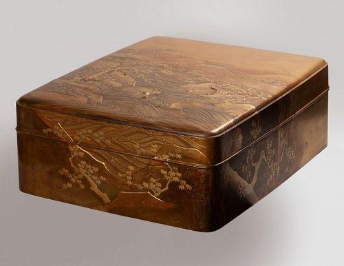 Ryoshibako Gold laquer document box Japan Edo 19th century