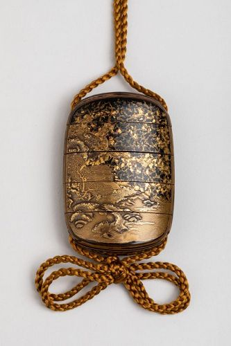 Inro : five-cases japanese gold urushi lacquer Japan Edo late 17th
