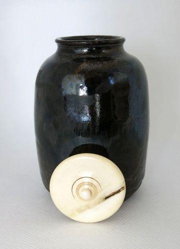 Cha-ire Beautiful ceramic tea caddy Japan Edo