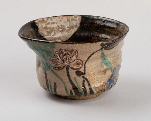 Tea bowl (chawan) inscribed Kenzan, Rimpa school, Japan Edo 19th