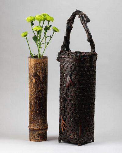 Ikebana bamboo flower basket with handle Japan 20th century