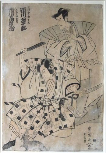 Woodblock Print by Utagawa Toyokuni : Two Actors