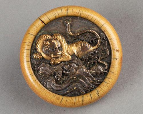 Kagamibuta - Tigers, Japan Edo 19th century