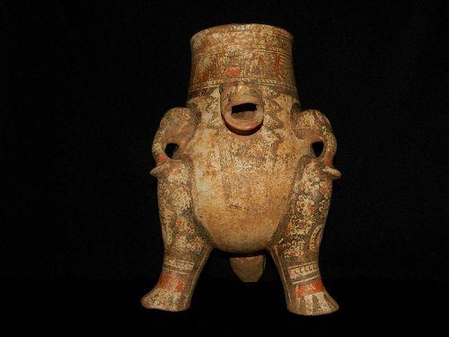 Pre-Columbian Jaguar Effigy Vessel, Large, Rare, Nicoya, Authentic