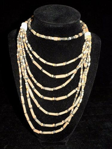 Pre-Columbian Multistrand Clay and Shell Bead Necklace