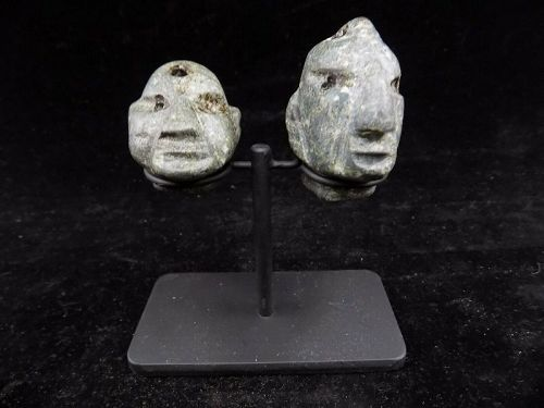 Pre-Columbian Jade Carved Face Beads, Costa Rica