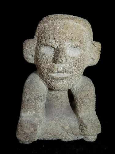 Pre-Columbian Pre-Classic Mayan Stone Carved Figure, Authentic