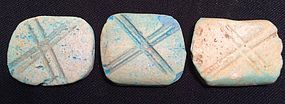 Three Egyptian Cross-Hatched Amulets! New Kingdom