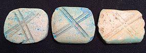 Three Egyptian Cross-Hatched Amulets! New Kingdom