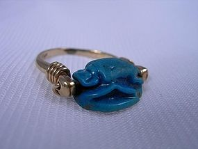 New Kingdom Blue Scarab for Ptah on 14KT modern gold