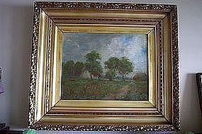 19th Century Impressionist Landscape Oil Painting