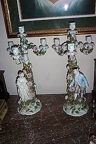 "Beautiful Pr. 21"" Porcelain Figural Candelabra"