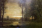 William E. Plimpton Sunset Framed Painting (American)