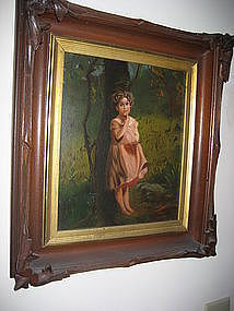 19th C Folk Art Painting of a Little Girl