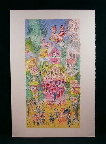"""Original Lithograph by Cobelle,""""Village Concert"""""""
