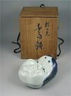 Unusual Japanese Kyo Yaki Porcelain Covered Bowl, Okame by Seifu Yohei