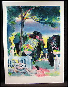 Original Lithograph by Paul Guiramand, Jardin A Antibes