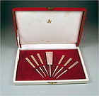 Handsome Japanese Silver Box & Kashi-Fork Set