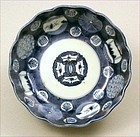 Pretty Japanese Ko Imari Sometsuke Bowl Marumon 19c