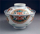 Pretty Ko Imari Covered Bowl Marumon Dsn 19c