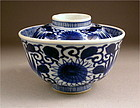 Japanese Ko Imari BW Covered Bowl, Mums Dsn 19c