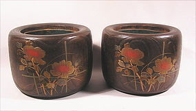 Lovely Japanese Makie Kiri Hibachi L19c, Pair